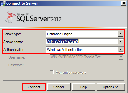 Ms sql setup with sql server management studio appspace core v5 in the connect to server window select database engine from the server type drop down menu and select windows authentication from the authentication 1betcityfo Image collections