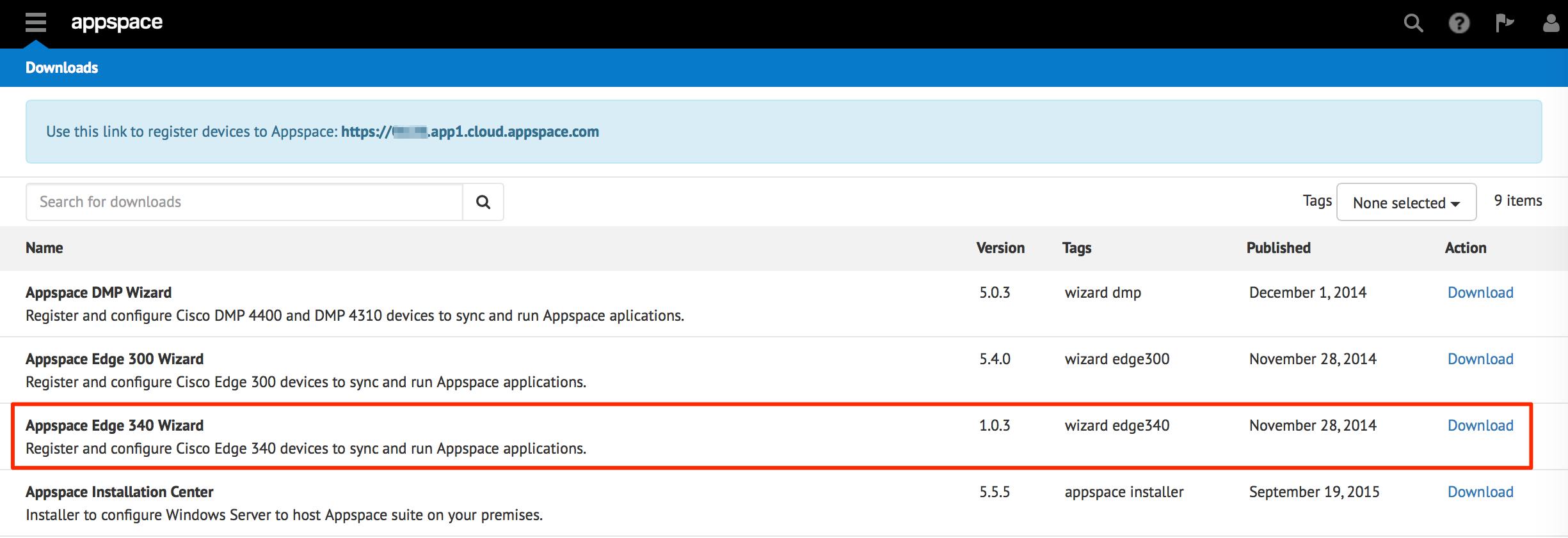 Edge 340 Registration — Appspace Core v5 9 Documentation