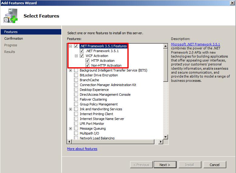 wcf activation components windows 10
