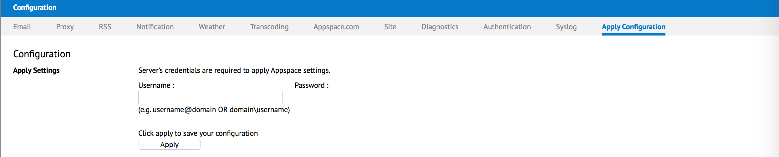 Managing proxy settings — Appspace v6 1 Documentation