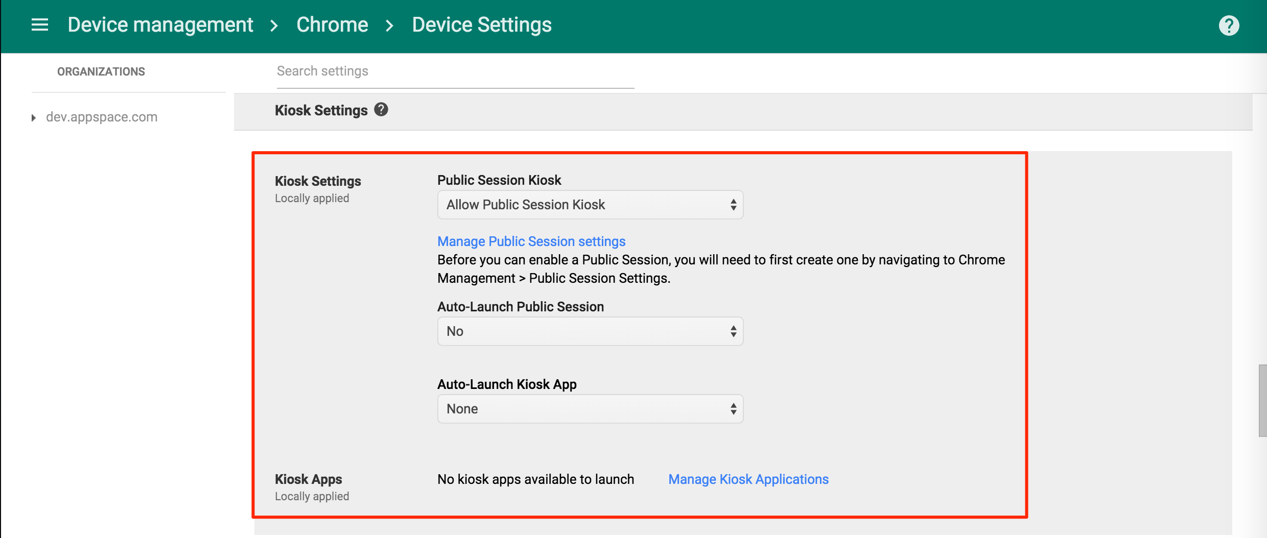 Configuring Chrome OS devices with Google Chrome Device