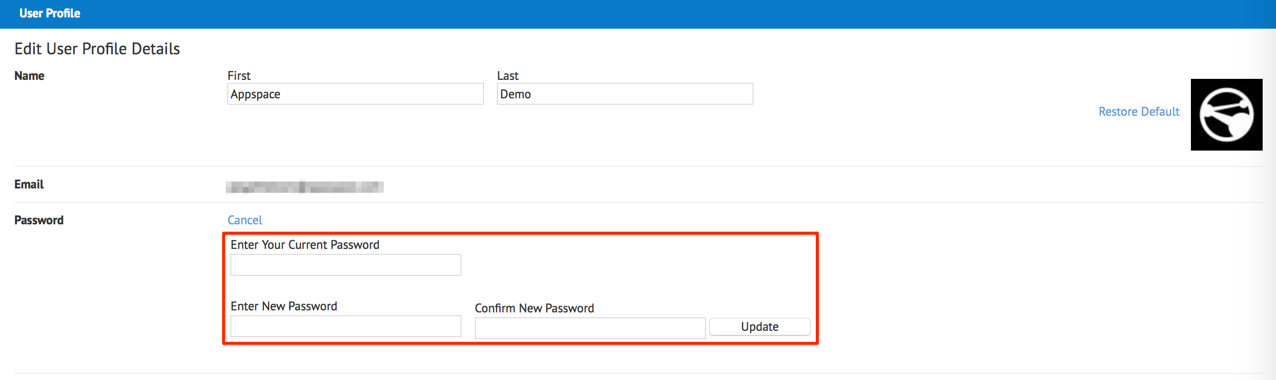 Changing and resetting password for on-premises users — Appspace v6