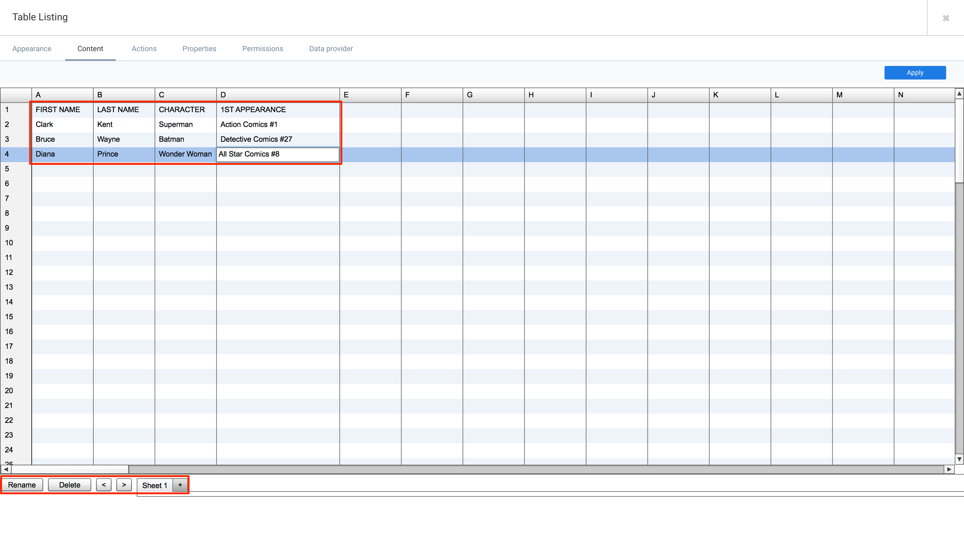 Widget: Table Listing — Appspace v7 0 Documentation