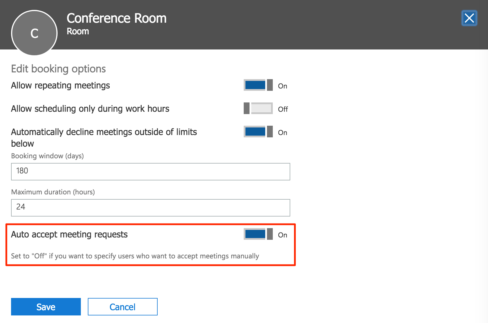 Configure Microsoft Outlook Calendar room booking service with