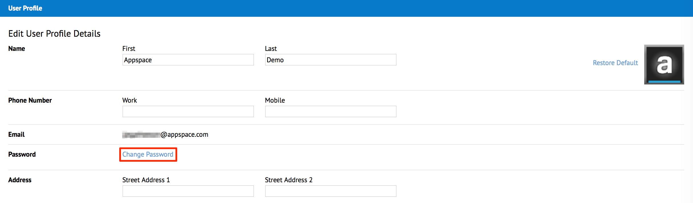 How do I change my password? — Appspace v7 0 Documentation