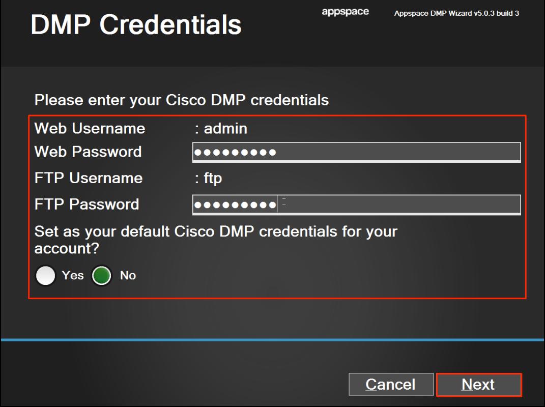Registering a Cisco DMP 4400/4310 — Appspace v7 0 Documentation