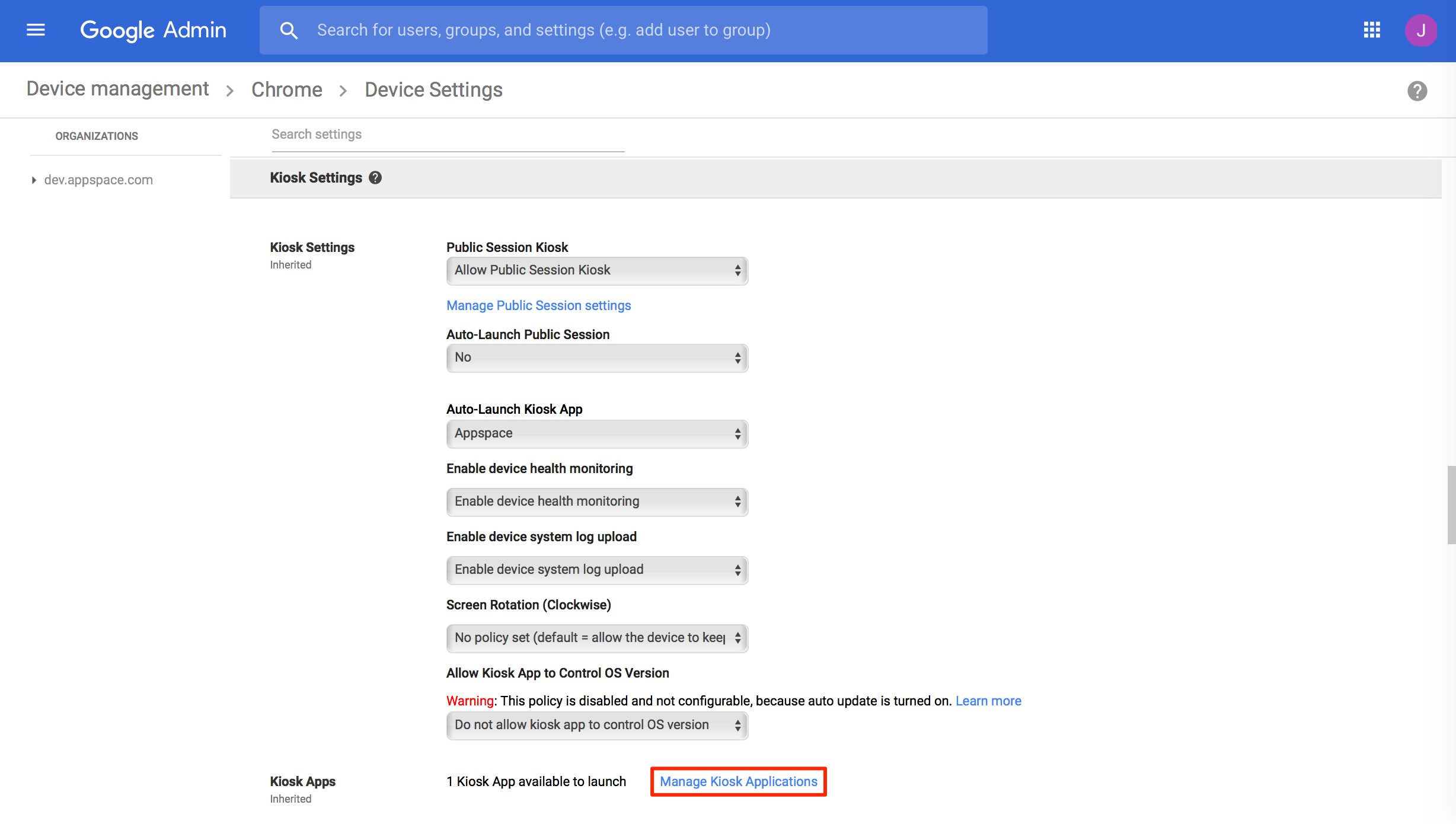 Configure Chrome OS devices with Chrome Enterprise (CDM) — Appspace